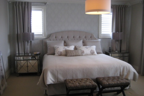 Custom Bedding, Tufted Headboard & Side Panels