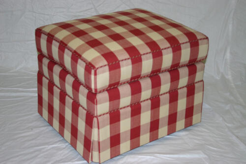 Custom Ottoman with Contrast Piping